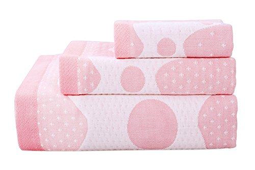 PANDA SUPERSTORE 3 Stück Giraffe Badetücher Baumwolle Familienhandtücher Waschlappen Kinder Handtuch Pink