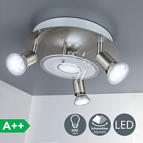LED Deckenstrahler 4 flammig, Deckenleuchte inkl. 4 x 3W 250lm Leuchtmittel GU10, schwenkbar, IP20, warmweiss - Eine Leuchte Decken-strahler