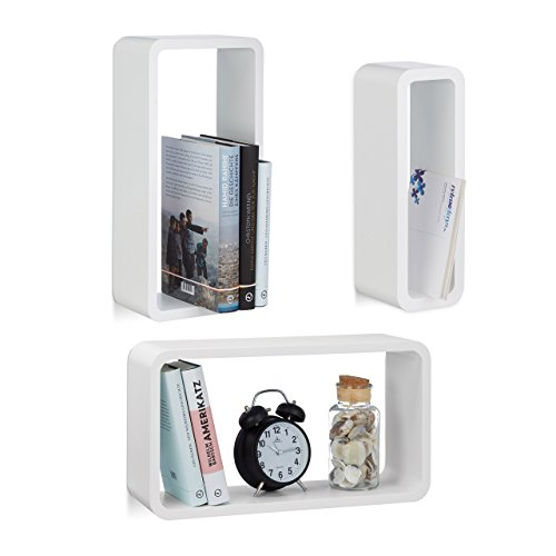 Relaxdays 10021788_49 set di 3 mensole da parete, laccate, varie misure, decorative, capacità di carico 8 kg, bianco