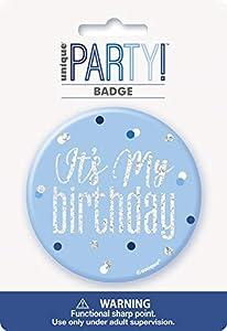Unique Party 83515 - Insignia de cumpleaños, color azul y plateado