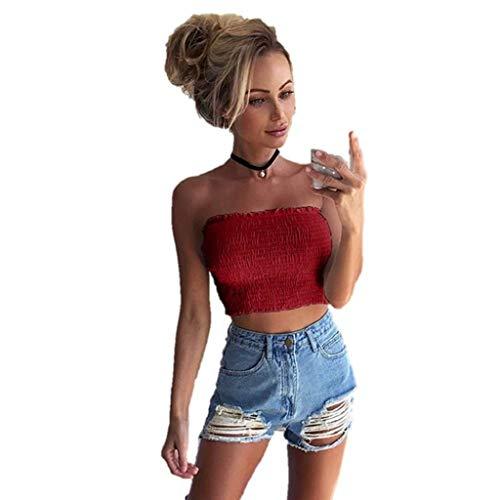 iHENGH Damen Sommer Top Bluse Bequem Lässig Mode T-Shirt Blusen Frauen trägerlosen elastischen Boob Bandeau Tube Tops BH Dessous Brust Wickeln(Rot, XL) -