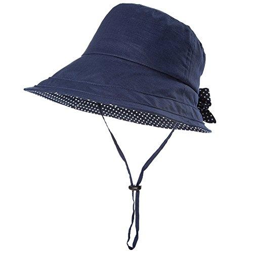 SIGGI schwarzblaue Leinen/Baumwolle Damen Sonnenhüte Sonnen Shade mit Kinnriemen faltbare Fischerhüte SPF 50 + breite Krempe