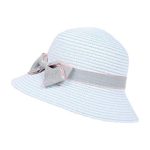 Scrolor Sommerkappen für Mädchen 5-8 Jahre alt Kinder Bogen Reisen böhmischen Hüte Strand Sonnenhut niedlich Basin Caps(Blau,Free)