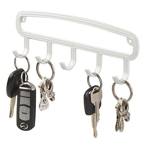 mDesign Perchero de pared angosto - Colgador de llaves con 5 ganchos - Cuelga llaves para recibidor, también para accesorios, chales, pañuelos - Muy útil para organizar pasillos - blanco perlado