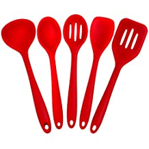 Joyoldelf 5 Piece Premium Silicone Kitchen Baking Set - Spatulas, Spoons & Turner - Heat Resistant Cooking Utensil