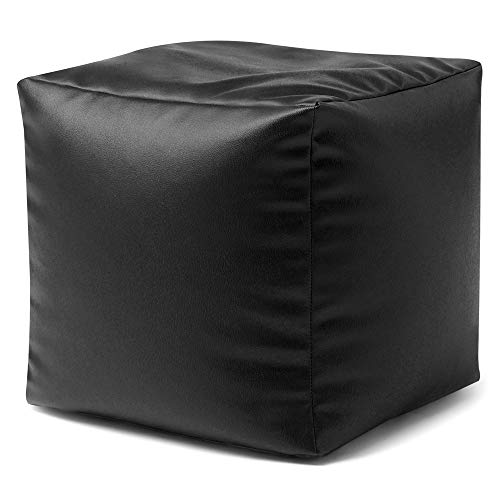 Bean Bag Bazaar® Würfelsitzsack Kunstleder Sitzsack Hocker (Schwarz)