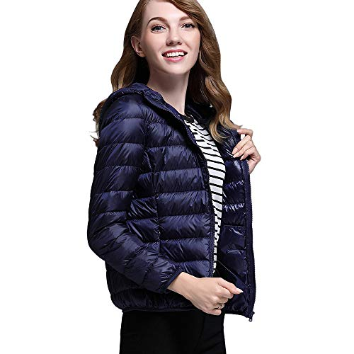 Dorical Damen Warm Daunenjacke Wintermantel Frauen Daunenmantel Winter Warm Lässig Ultra Light Solide Mantel Parka Jacke Outwear Portable Outwear Trenchcoat mit Kapuze(Marine,X-Small) -