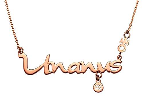 Planet Halskette (Sternzeichen Halskette Wassermann mit dazugehörigem Planet Uranus, Horoskop Schmuck Farbe Rosegold)