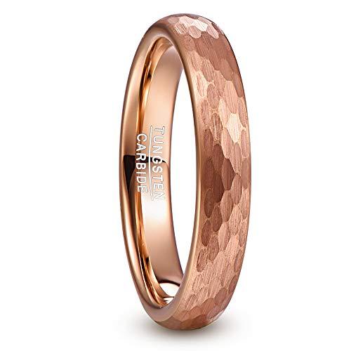 NUNCAD Damen Mädchen Paare Ring Rosegold 4mm mit Gehämmertem Design für Geschenk Hochzeit Verlobung Zeigerfinger Fashion Größe 54 (14)