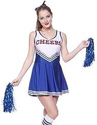 Anladia Cheerleader Kostuem Uniform Cheerleading Cheer Leader Minirock GOGO Damen Maedchen mit 2 Pompoms Karneval Kostuem