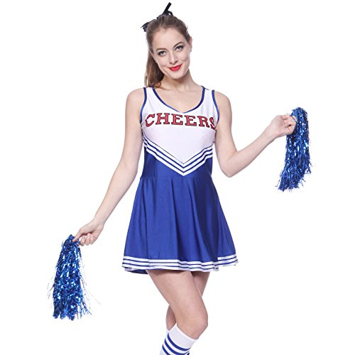Damen Kostüm Cheerleading - Anladia Cheerleader Kostuem Uniform Cheerleading Cheer Leader Minirock GOGO Damen Maedchen mit 2 Pompoms Karneval Kostuem