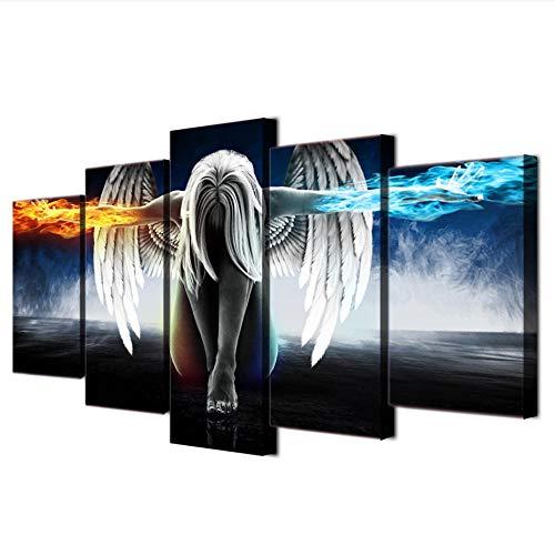 GTomorrow Leinwand Bilder Anime Engel Mit Flügeln Teufel 200X100Cm Fertig Aufgespannt,Vlies Leinwand, 5 Teilig,Wand Bild, Kunstdrucke, Wandbild