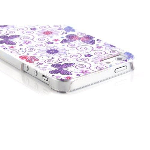 JAMMYLIZARD | WEIß / SILBER / GRAU G10 niedliche Blumenmuster Diamante Ganzkörper Hülle/Tasche/Hardcase für Apple iPhone 5 inkl. Displayschutzfolie Schmetterlinge WEIß