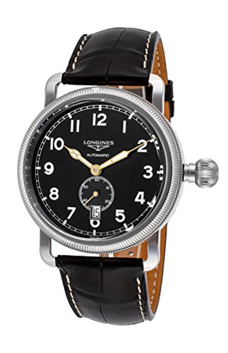 Longines Heritage Avigation Oversize Crown Automatic Steel Mens Strap Watch L2.777.4.53.2