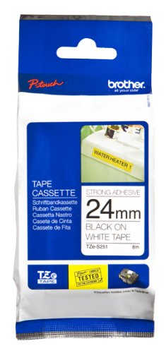 Brother Original P-touch Schriftband TZe-S251 24 mm, schwarz auf weiß (kompatibel u.a. mit Brother P-touch P700,- 2430, -D600, -9700PC, -P750W) extra-stark klebend, laminiert