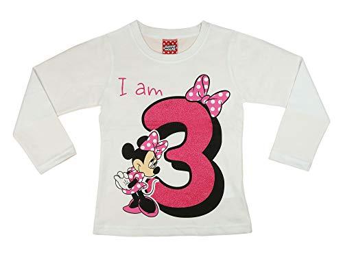 Mädchen Baby Kinder dritter Geburtstag T-Shirt 3 Jahre Birthday Outfit GRÖSSE 98 104 Minnie Mouse Disney Design Glitzer Weiss oder Rosa Babyshirt Oberteil Farbe Weiss, Größe 104