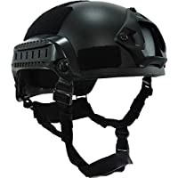 haoyk estilo táctico para Airsoft y Paintball MICH 2001casco con NVG montaje y carril lateral para Airsoft Paintball, negro