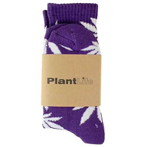 Für Männer Weed-socken (Plantlife® Hanf Muster lifestyle Socken one-size, Unisex (lila/weiss))