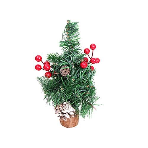 BESTOYARD Mini Weihnachtsbaum mit Schnee und Weihnachtskugel Künstlicher Tannenbaum Christbaum mit Holz Ständer Xmas Tischdeko Weihnachtsdeko (rot)