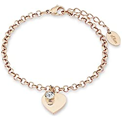 s.Oliver Damen-Armband mit Herz-Anhänger in Rosé-Gold mit Swarovski Kristall Edelstahl mit IP-Rose-Beschichtung gravierbar 540186