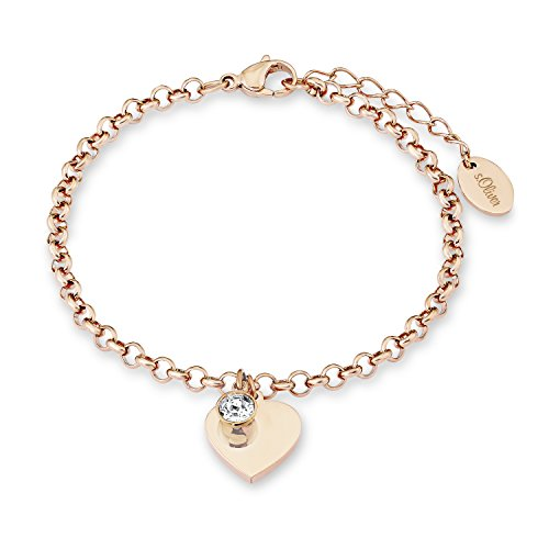 s.Oliver Damen-Armband mit Herz-Anhänger, gravierbar, aus roséfarbenem Edelstahl mit Swarovski Kristall weiß