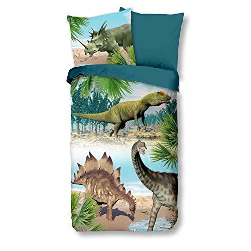 good morning Bettwäsche 6602 Dino Bunt Dinosaurier T-Rex Stegosaurus 135 cm x 200 cm