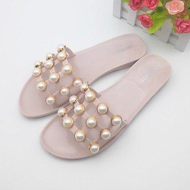 Scarpe Donna FYZSWOMEN'S sandali della gelatina di estate Scarpe casual Pvc Heel Flat Light Rosa Nero US8 / EU39 / UK6 / CN39
