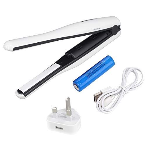 Plancha de Pelo Viaje Pequeña Planchas Rizadoras, Mini Alisador de Pelo Portátil Inalámbrico, con USB Portátil, Adjustable Temperature 180-200, Doble Voltaje 100-240V para Viajar, blanco