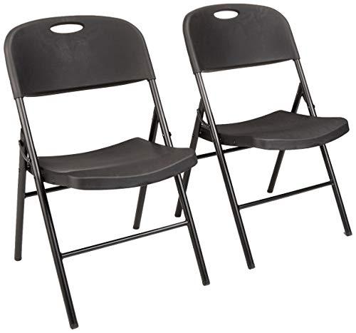 AmazonBasics Klappbarer Kunststoff-Stuhl, 157,5 kg Tragkraft, Schwarz, 2er-Set