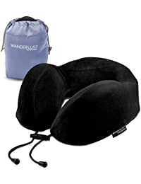 Wanderlust Travel Essentials - Memory Foam Travel Neck Pillow Head Rest with Carry Bag