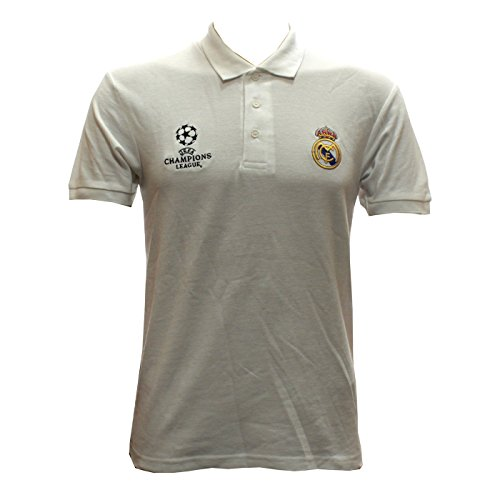 Real Madrid – Polo Camiseta en blanco UEFA Champions League tamaño s