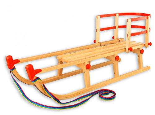 Erst-Holz 22-115-Lehne Davos Schlitten klappbar 115 cm, Holzschlitten, Rodel Klappschlitten