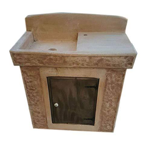 MONDO ARTISTICA Lavello pilozzo lavabo lavandino artigianale da giardino in cemento e polvere di marmo pietra con mobile lavorato a mano made in Italy LA-389 marrone chiaro