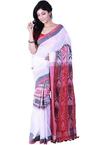 Tjsarees Women's Khadi Saree (Tj5001011_White)
