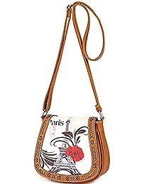 Di Grazia Womens Shoulder Sling Cross Body Handbag (Brown, Brown-Eiffel-Tower-Sling-Bag)