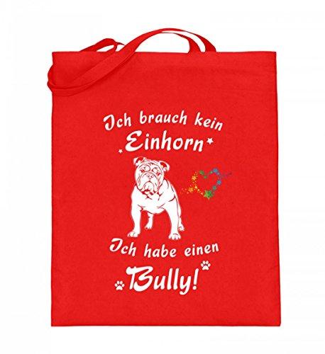 Hochwertiger Jutebeutel (mit langen Henkeln) - Ich habe eine Bully - Limitierte Edition Rubinrot
