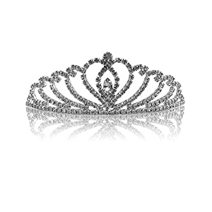 Katara- Tiara con Diamantes de Imitación de Plata para Novia o Dama de Honor, Color, corona con peine modelo #1 (1738)