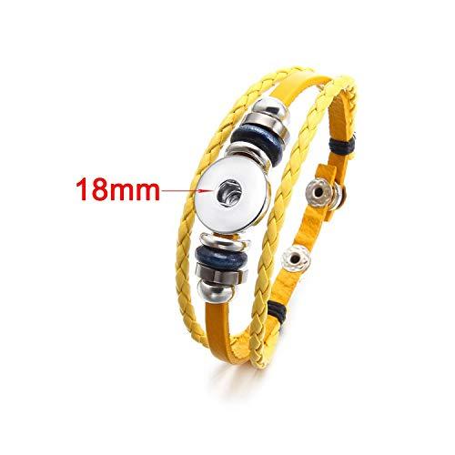 Awertaweyt Multi-Layer-Lederarmband, geflochtene Wrap-Stulpearmband, Handmade 12 Colors Multilayer Braided Leather 18Mm Snap Button Bracelet Bracelets for Women Yellow -