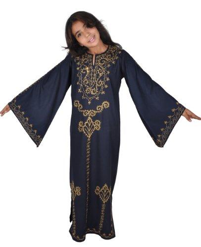 Egypt Bazar Kinder Kaftan im 70er Look, Farbe: nachtblau/gold (164) (Arabische 1001 Nacht Kostüm)