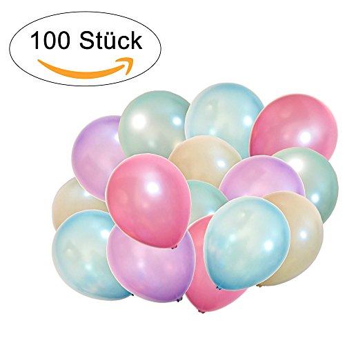 100 Perlmutt Luftballons - Helium geeignete Herz-Luftballons - Qualitätsware - Ballons für Hochzeit, Valentinstag, Geburtstag uvm. (100, Perlmutt - Ivory, Karibikblau, Lavendel, Perlgrün, Rosa)