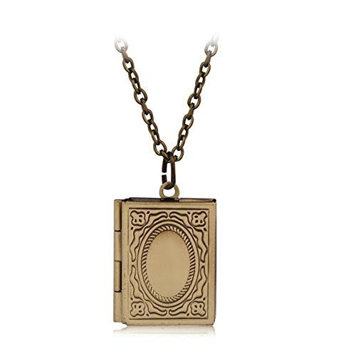 Fajewellery Vintage Heart Flower Photo Picture Locket Pendant Long Chain Necklace for Women