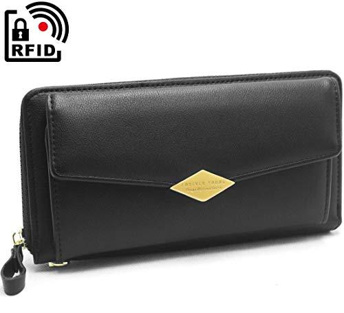 Portefeuille Femme Grande Capacite Porte Monnaie Porte Femmes RFID Blocage avec 12 Emplacements Cartes