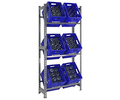 Getränkekistenregal für 3 oder 6 Kisten - Industriequalität - Expressaufbau Größe für 6 Kisten 180x80x30 cm