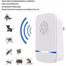 AUVSTAR Ultrasuoni Repeller Pest - Elettronico Plug In interno repellente per zanzare, unico effetto repellente per insetti Blu-ray, topi, formiche, scarafaggi, ragni, lucertole, mosche, insetti, lucertole, non tossico Eco-Friendly, umano e Pet sicuro (bianco