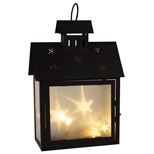 Cepewa LED Laterne Haus Metall schwarz mit 3D Hologramm Effekt - Scheiben in zwei Größen Batteriebetrieb (klein) (Metall-sterne-haus)