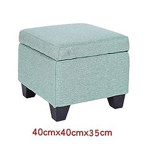 Ibuprofen Platzsparende Ottomane Sitzkissen Wohnzimmer Sofa Bank Leinen Hocker Spielzeug Box Folding Storage Bank/Blau 40 * 40 * 35Cm