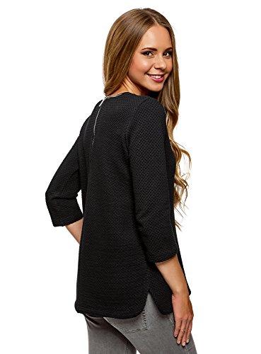 oodji Ultra Damen Pullover aus Strukturiertem Stoff mit Kunstlederbesatz Schwarz (2900N)