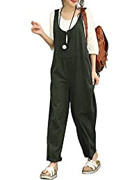 d72de5fa984b Sobrisah Women s Strappy Jumpsuits Overalls Casual Harem Wide Leg Dungarees Rompers  Plus Size