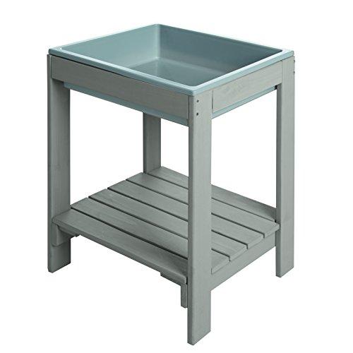 roba Kinder Outdoor Spieltisch 'Tiny' aus Holz, Matschtisch mit 1 Kunststoff-Wanne und Ablage, verwendbar als Buddeltisch und Sandtisch für draußen, wetterfest, grau lasiert