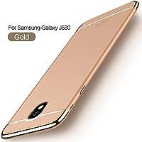 Funda Samsung Galaxy J5 2017,2ndSpring Carcasa Galaxy J530 + Cristal Templado, Luxury 3 en 1 Desmontable Ultra-Delgado Anti-Arañazos Case Cover Funda para Samsung Galaxy J5 2017 J530 J5 Pro Oro